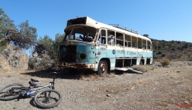 the old bus Arvi parked next to the canyon