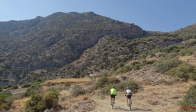cyclist next to Eligias canyon