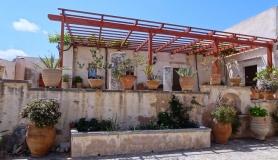 Eleousa Monastery garden full of flowers