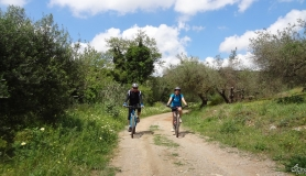 cyclists in the canyon before Voni village Crete