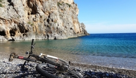 agiofaraggo mountain bike tour Crete the beach