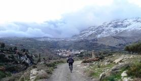 Agios Myronas Rizinia Vathia bike tour Ano Asites village in winter with snow