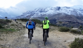 Agios Myronas Rizinia Vathia bike tour Koudouni mountain full of snow