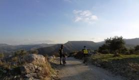 Agios Myronas Rizinia Vathia bike tour rest at the top of the hill