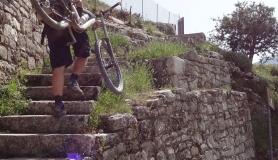Agios Myronas Rizinia Vathia bike tour the stone stairs up to Rizinia