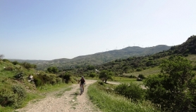 Agios Myronas Rizinia Vathia bike tour the uphill to rizinia