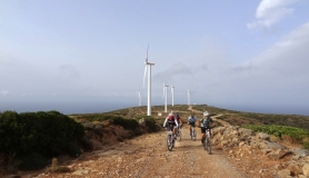mountain bikes at Aforesmenos and wind mill generators