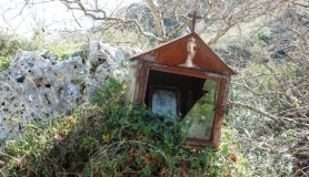 abandoned iconostasi roadside chapel Crete Greece