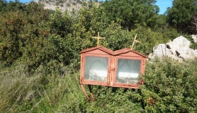 double iconostasi roadside chapel Crete Greece