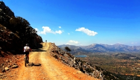 the view of lasithi plateau Crete, on the way to the top of the tour