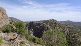 the entrance of Kritsas canyon. The view from the road above the traditional cretan village