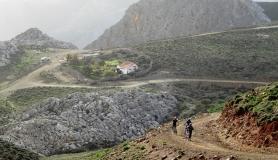 Rocky landscape at Asterousia muntains. Agia Moni - Startrail