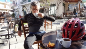 coffee stop at Anogia square meintaniMitato bike tour Crete