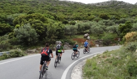 peloton riding up to Lasithi Plateau