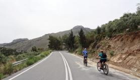 cyclists before Amigdali village Crete