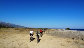 mountain cyclists at the estuary of Anapodaris river