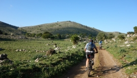 riding inside Tigania plateau near Psiloritis mountain Crete