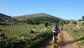 riding inside Tigania plateau near Psiloritis mountain Crete