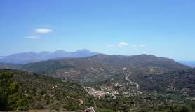 the Prina village and Thripti mountains from above. View of south and North Crete. Trans Dikti