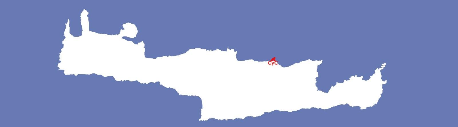 cycling creta on the cretan map