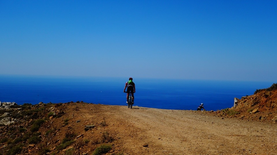 cyclist view the south sea of crete big