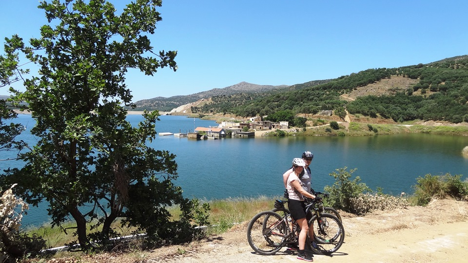 two cyclists next to Sfendili village inside Aposelemis lake at Hersonisos