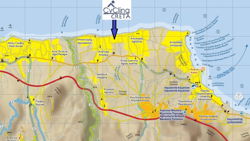 our cycling map for the area of Hersonisos Crete