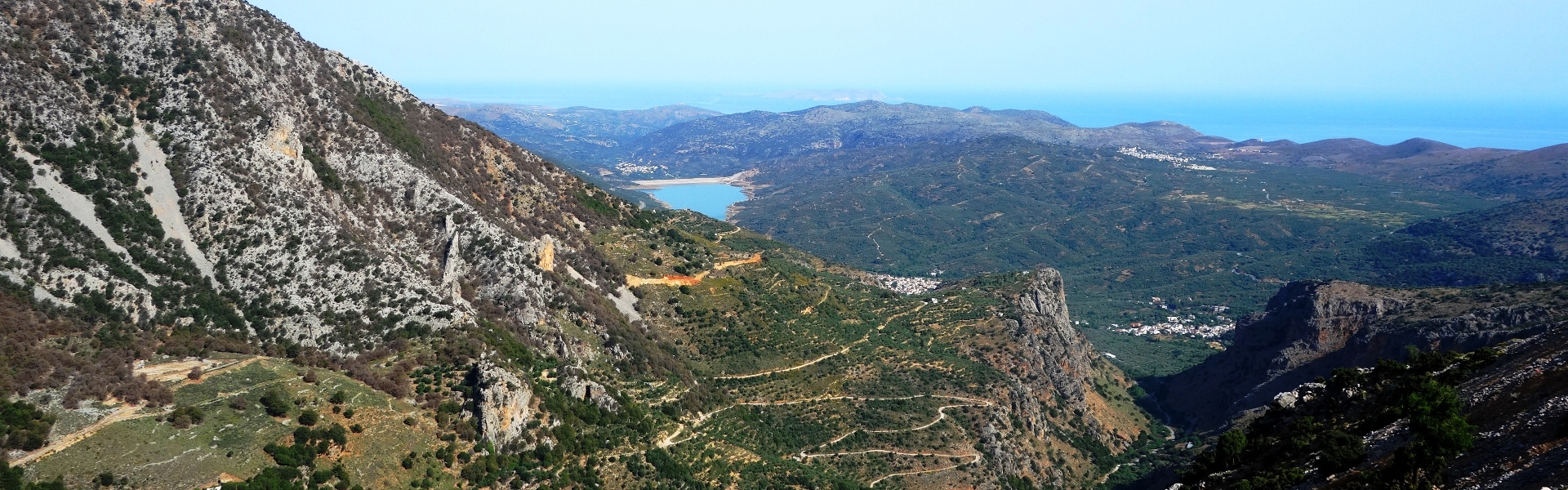 the view of north shor of Crete from Ambelos Lasithi plateau