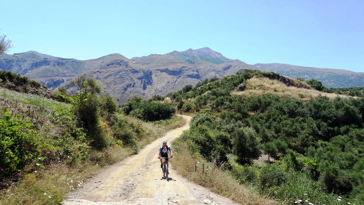 cyclist at karouzano village crete