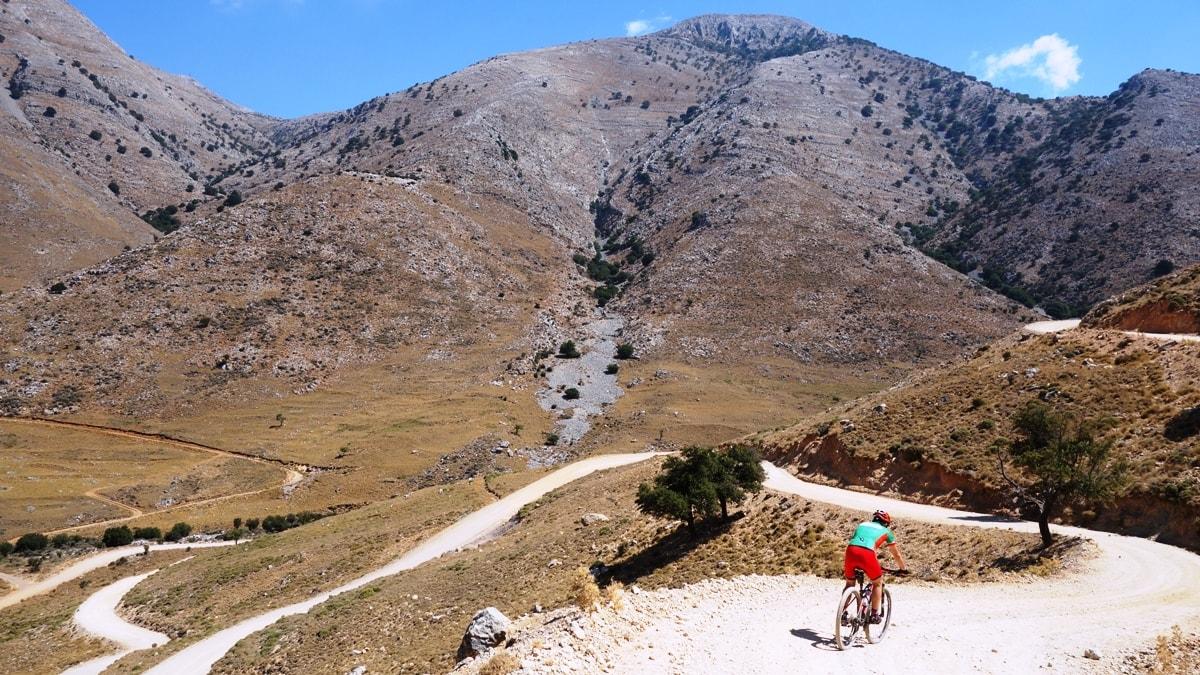 gerakiani lagada mountains and cyclist Crete