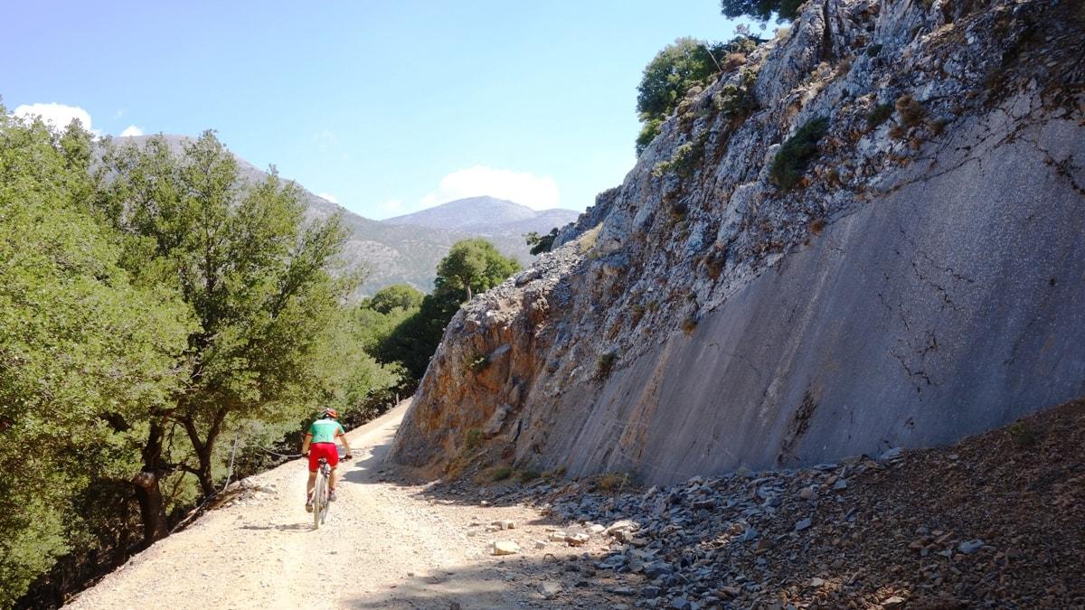 vertical rocky wall at dikti mountains crete