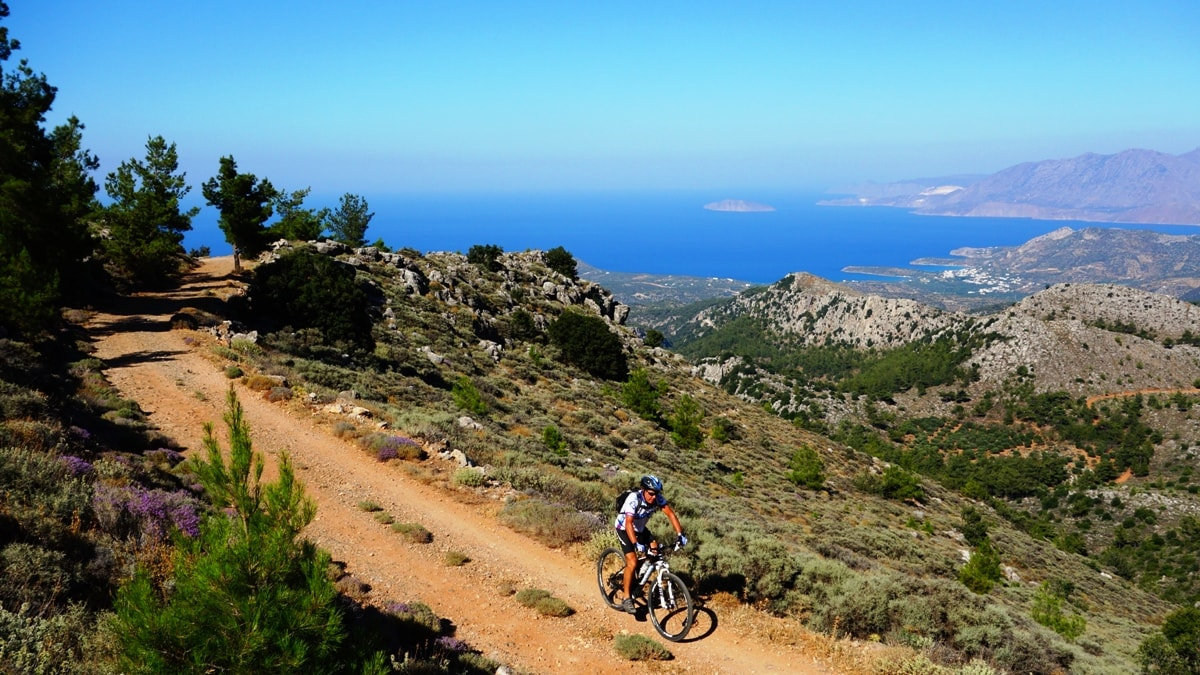 istro bay crete from above and cyclist