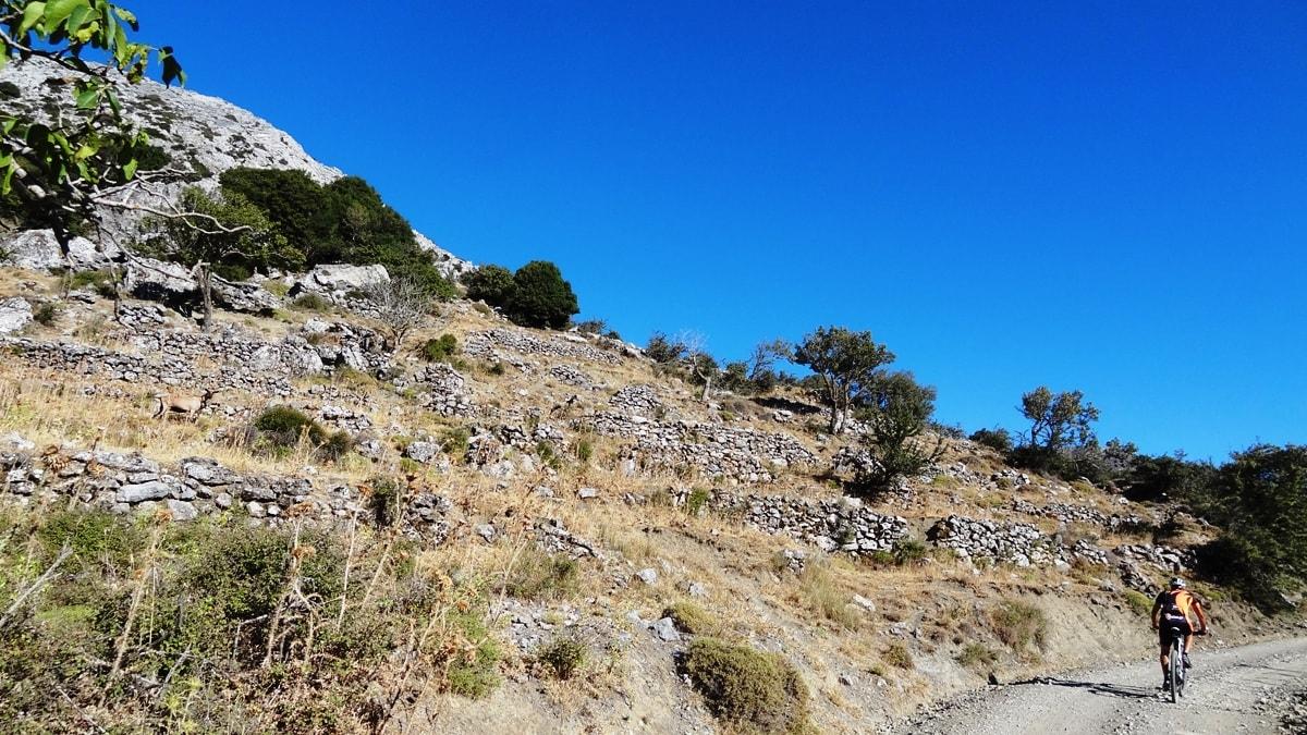 stone walls at katharo plateau crete