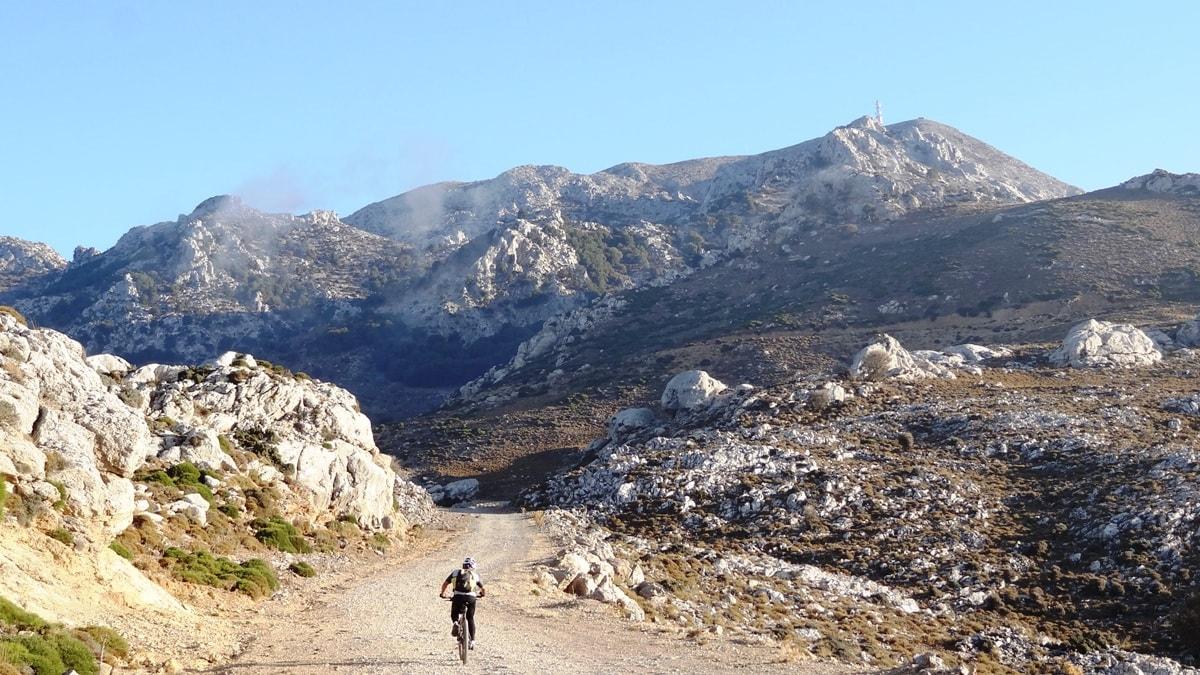 cycling uphill to katharo plateau crete