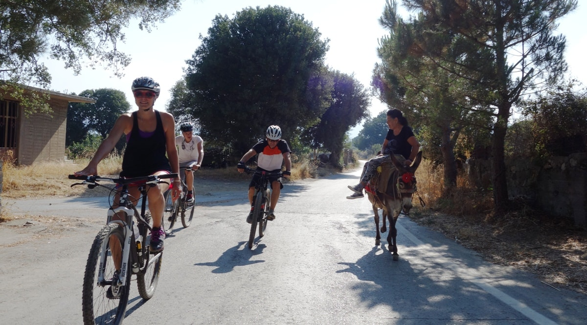cyclists at lasithi plateau crete and lady on a donkey