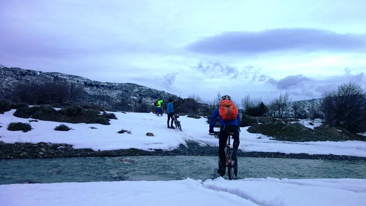 white full of snowcrete and cyclist