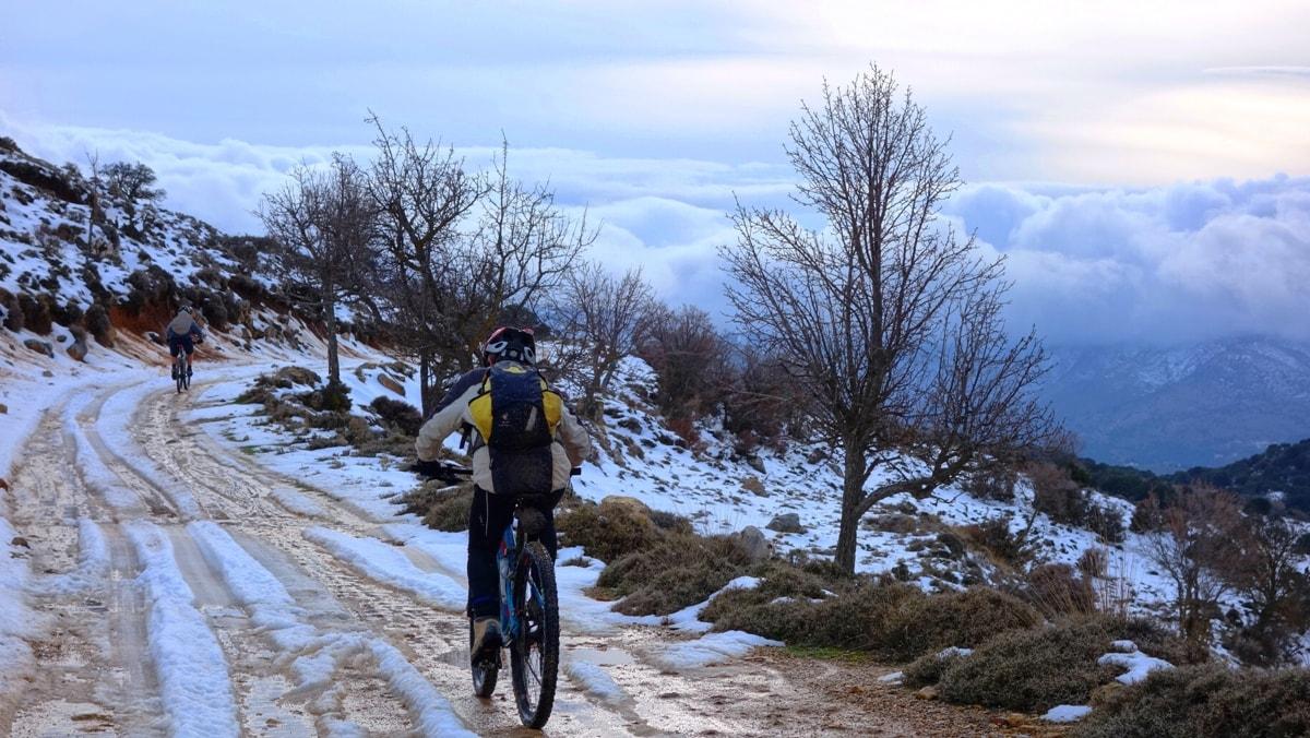 white full of snowcrete and cyclist 7