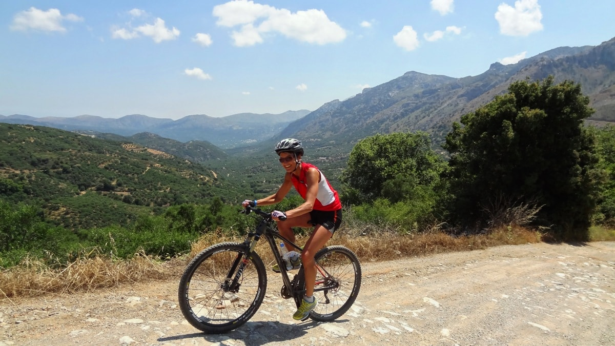 pretty girl at Dikti mountains cycling crete bike