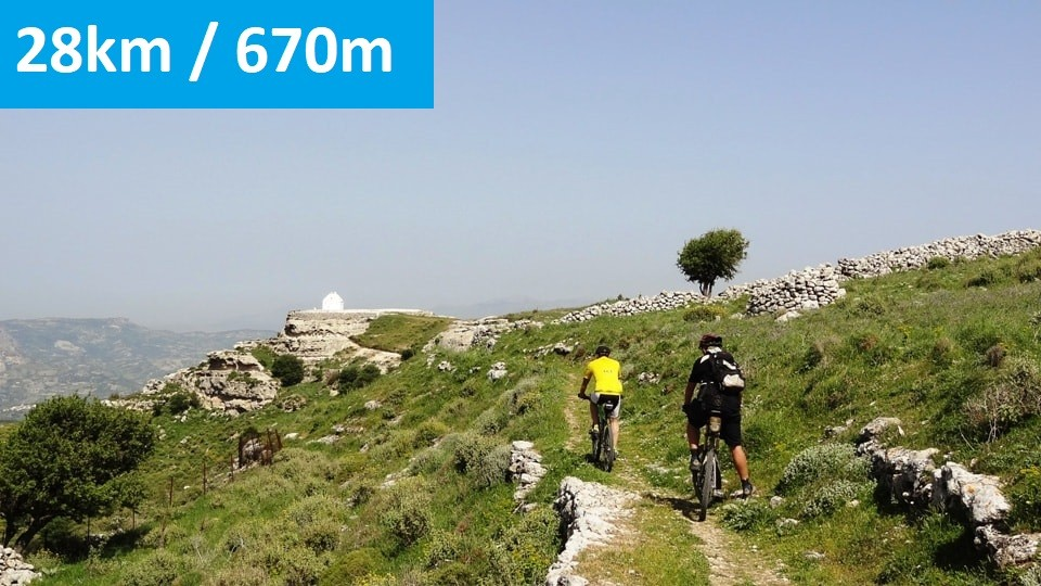 Agios Myronas Rizinia Vathia bike tour the path to Agios Panteleimonas church - feature img