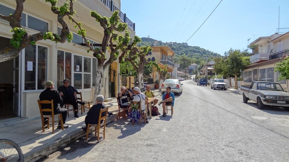 why do greeks paint trees white coffee stop at gerakari village Crete Kedros cycling