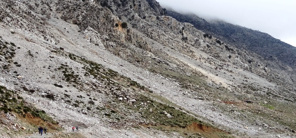 landslides on the mountains of crete