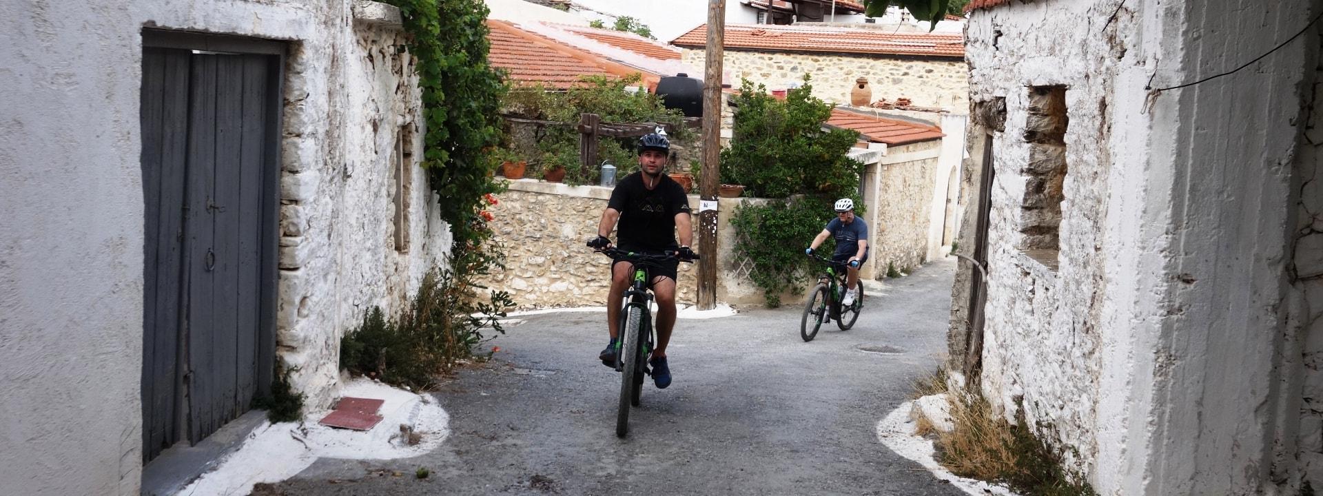 aposelemis ebike tour crete small village street