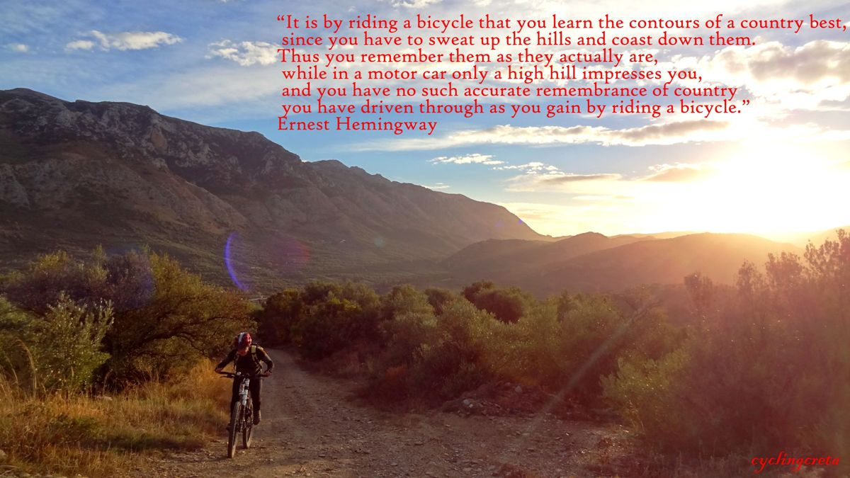 It is by riding a bicycle that you learn a country best since you use all of your senses to feel the nature