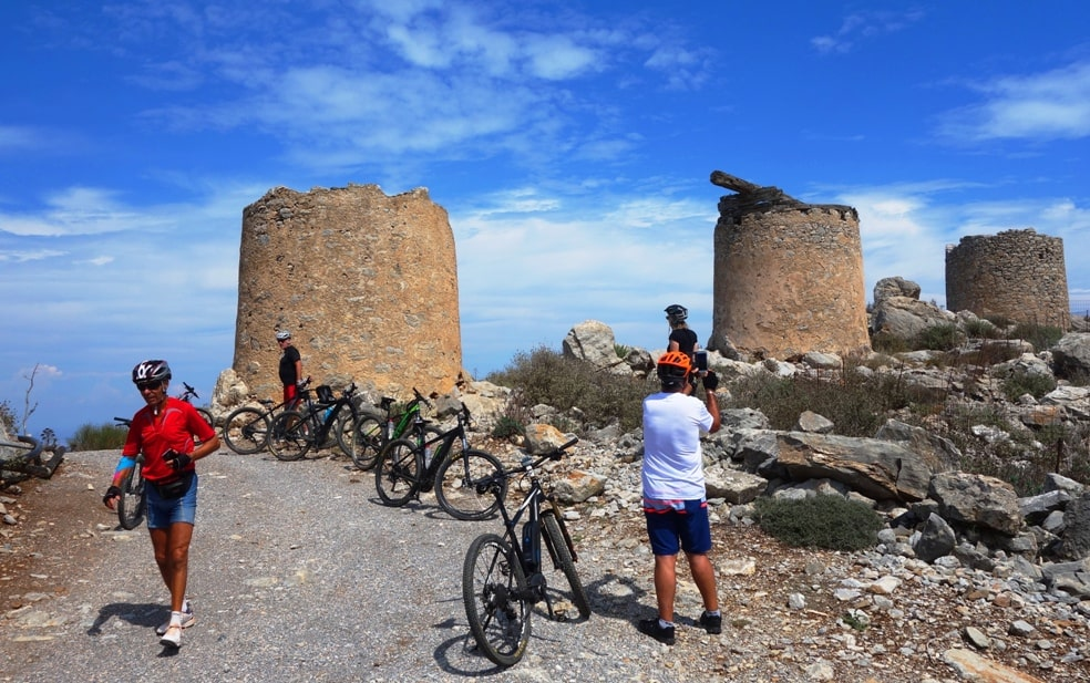 canyons and villages ebike tour Crete Kreta mountain biking cycling adventures nature villages and mountains the amazing view from the wind mills