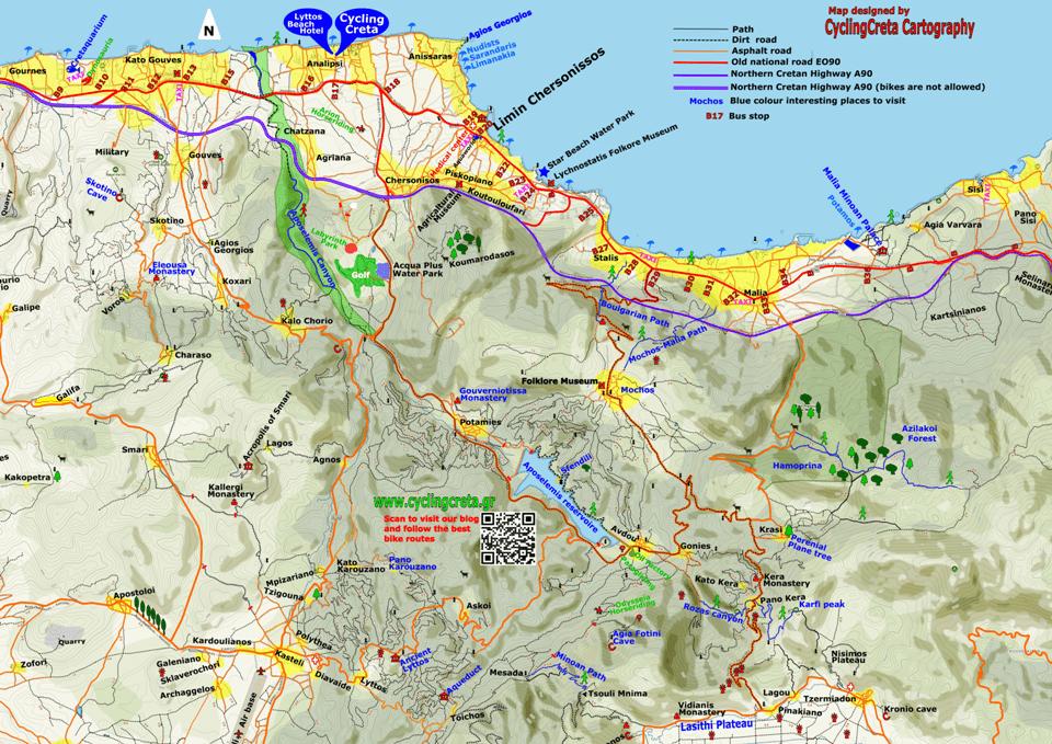 detailed touristic printable map of hersonissos Malia Gouves Crete SMALL