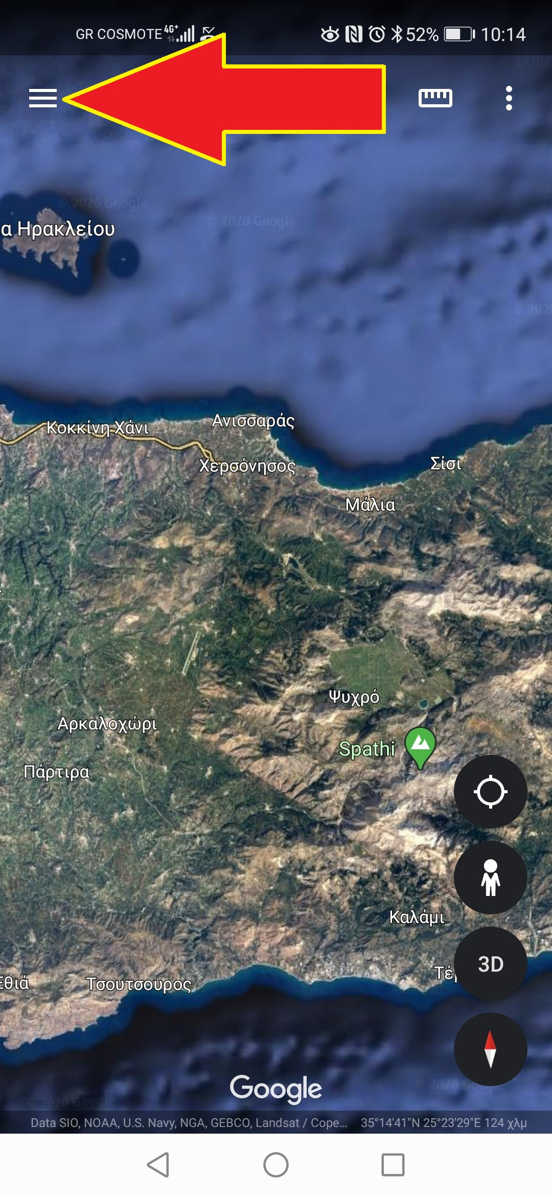 how to use a cyclingcreta map of Crete with google earth 2