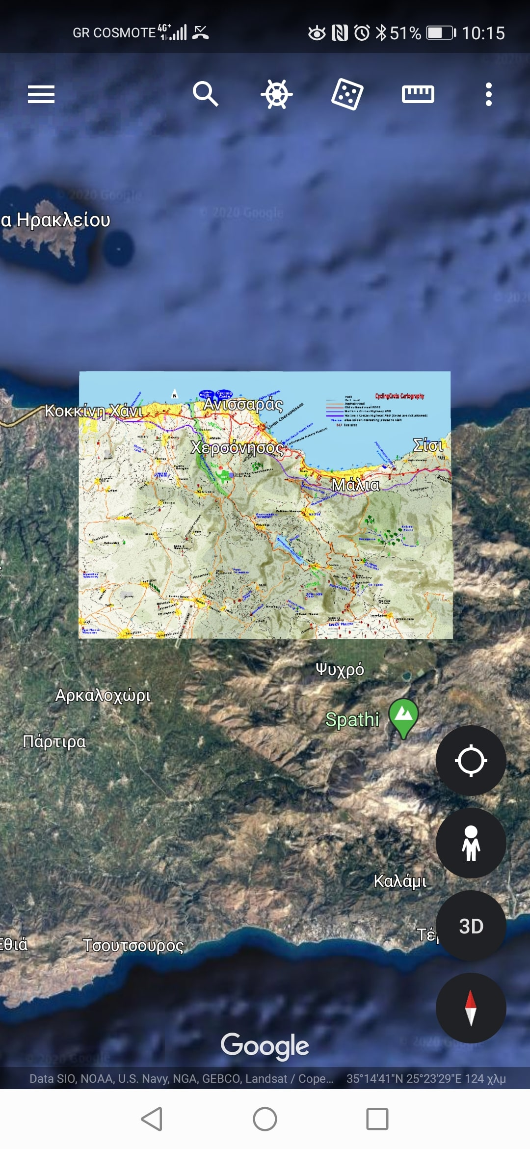how to use a cyclingcreta map of Crete with google earth 7 -