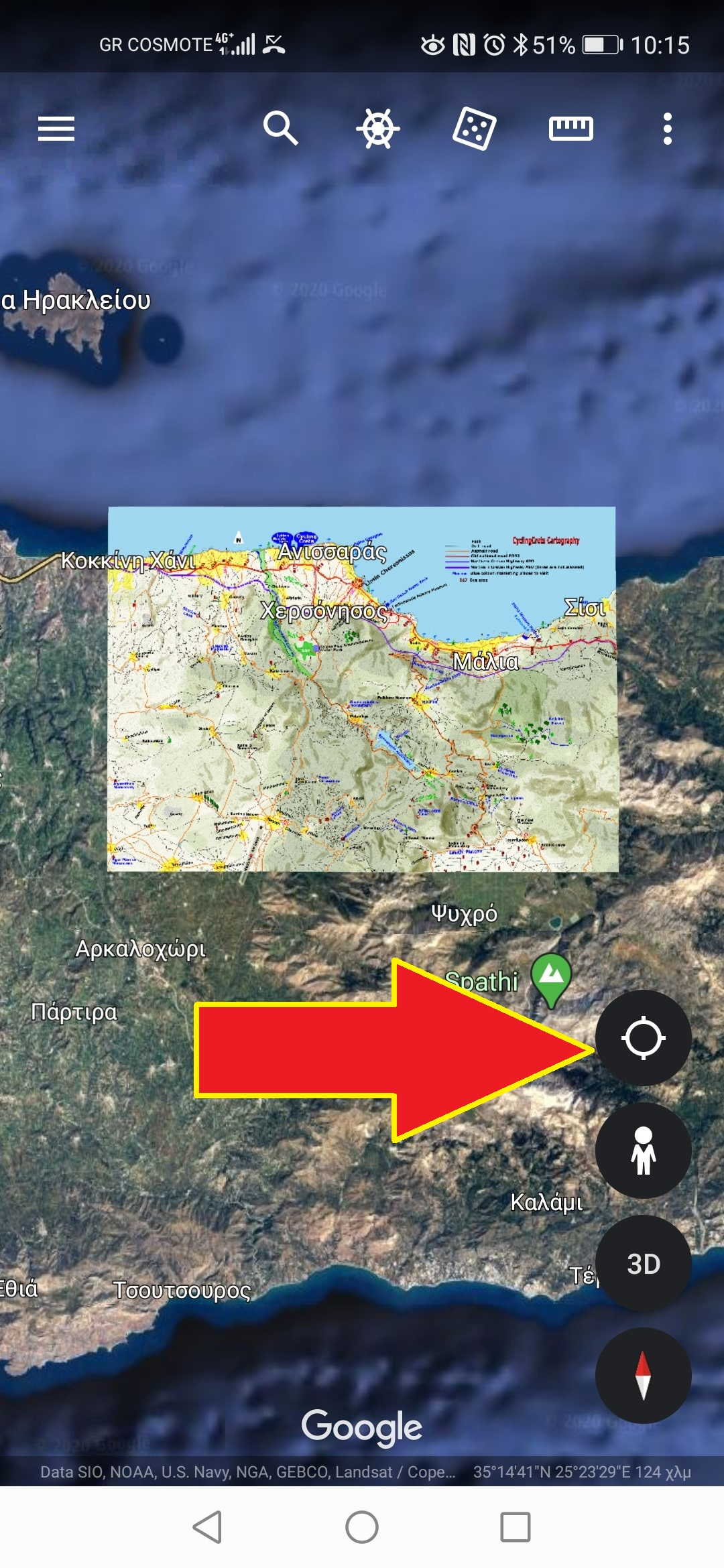 how to use a cyclingcreta map of Crete with google earth 8