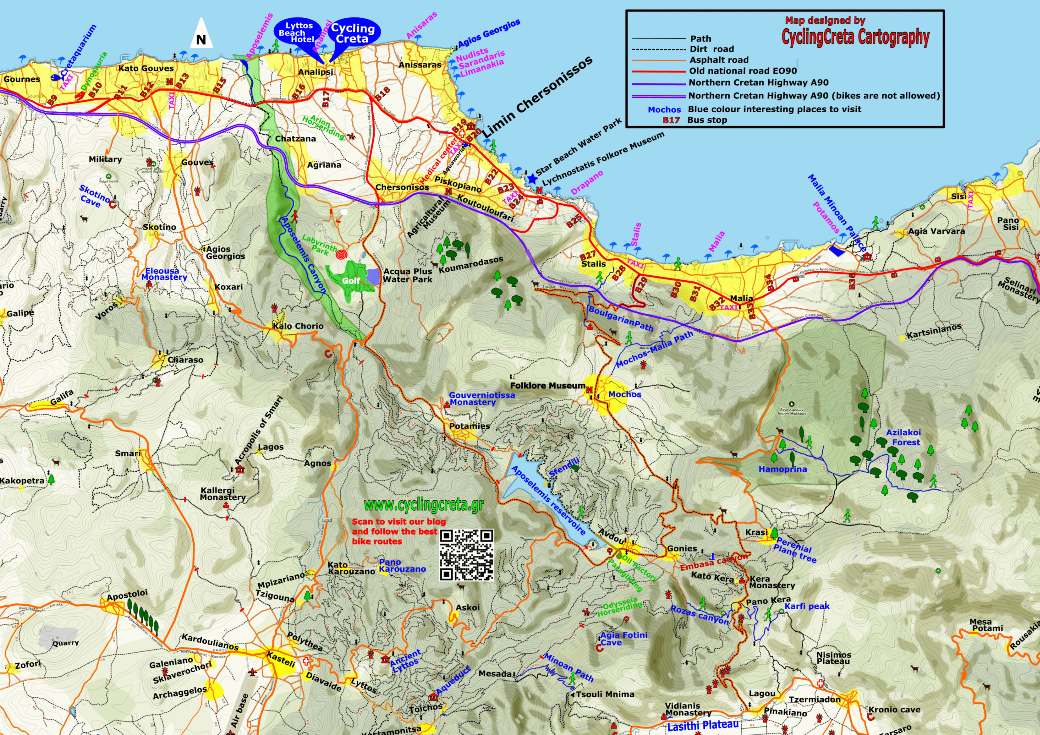 detailed tourist map of Hersonissos Gouves Stalis Malia cyclingcreta Lyttos beach-small