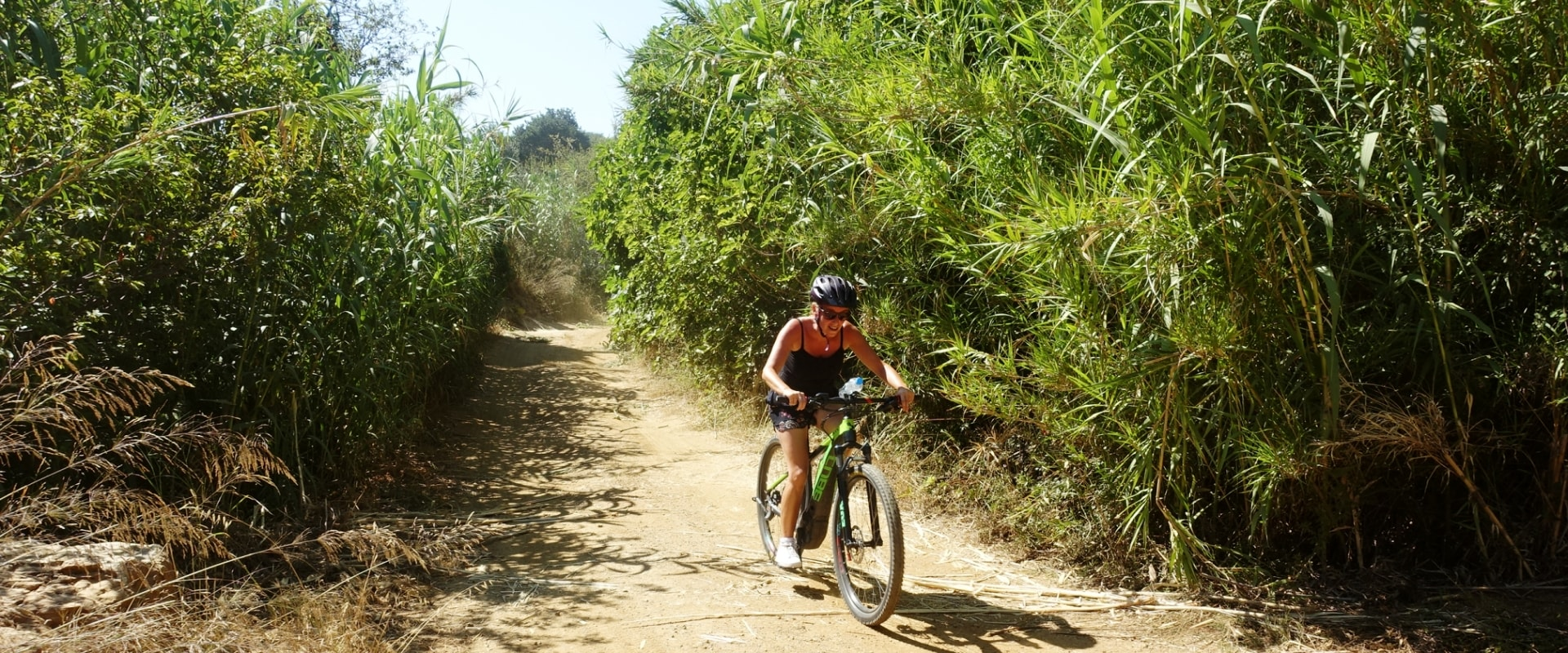 Lagoon ebike tour Crete Hersonissos Malia Stalis Analipsi Gouves Cube reaction bikes-through the bamboo trees-min